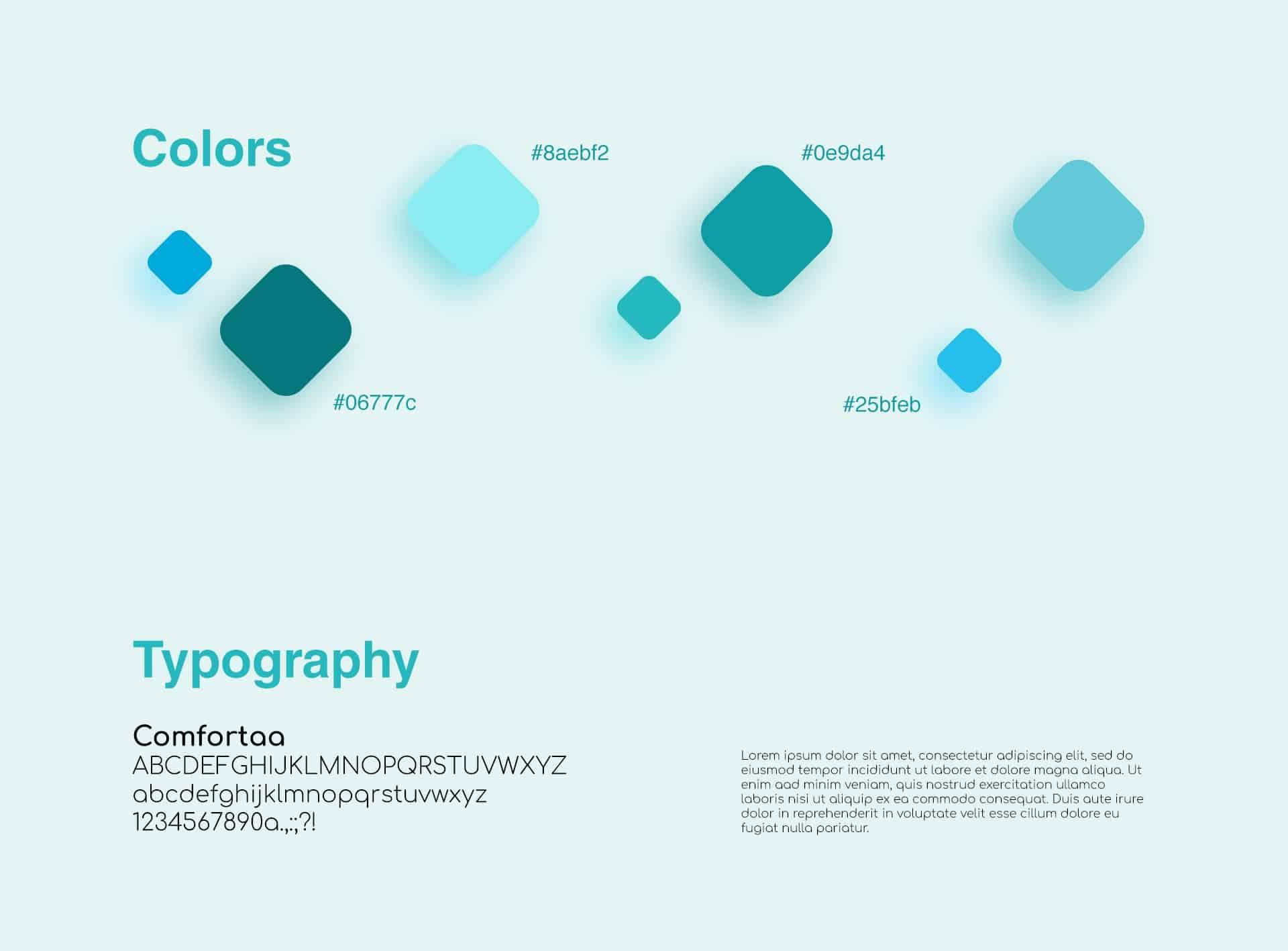 Результаты разработки фирменного стиля: цветовая гамма и набор шрифтов – по сути, создание брендбука