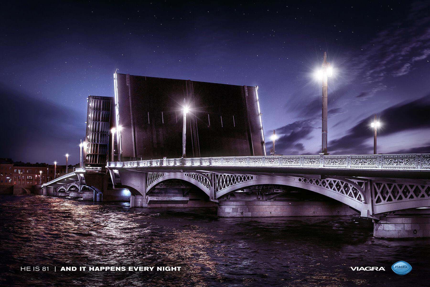 Старейший мост Санкт-Петербурга – Благовещенский – одновременно является рекордсменом по продолжительности периода «ночного подъёма», взятого за основу концепта рекламы для «Виагры»